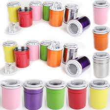 set of 3 tea coffee sugar kitchen canisters jars various colours