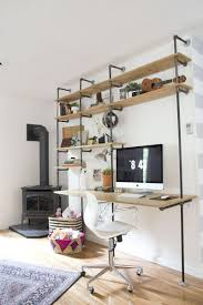 industrial style shelf and desk space i like this idea