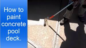 Removing Paint From Concrete Steps by How To Paint Or Stain Concrete Pool Deck Youtube