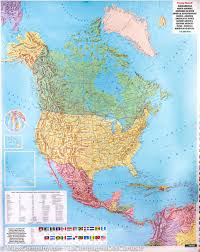 North America States Map by Wall Map Of North And Central America Political And Physical