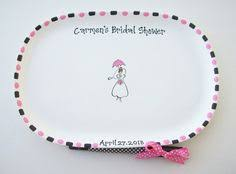 bridal shower autograph plate couture silhouette ceramic signature plate 13x11 inch