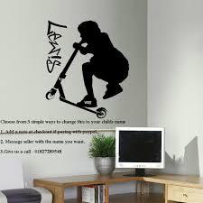 Skateboard Bedroom Ideas Large Personalised Stunt Scooter Teenage Bedroom Wall Art Sticker
