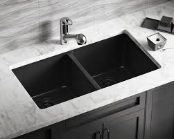 Composite Kitchen Sink Reviews by 802 Black Double Equal Bowl Trugranite Kitchen Sink