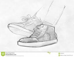 pencil sketches of shoes pencil sketch of feet in gym shoes stock