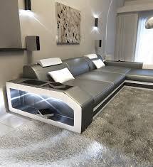 L Shaped Fabric Sofas Modern L Shaped Sofa Prato With Led Lights Leathersofa Grey White