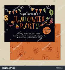 halloween party invitation card design template stock vector