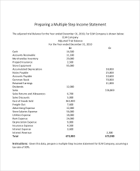 Multi Step Income Statement Excel Template multi step income statement 12 free word pdf excel documents