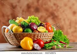 fruit and vegetable basket heap fresh fruits vegetables basket on stock photo 310749974