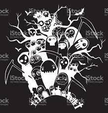halloween vectors hand drawn cute death skeleton characters for halloween stock