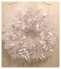White Deco Mesh Silver White Wedding Deco Mesh Wreath Wedding Wreath Silver