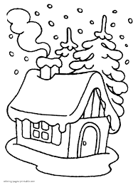 colouring pages for kids house in the winter forest