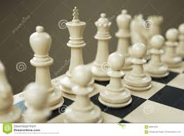 set of white chess pieces on a chessboard close stock illustration