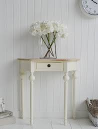 Cream Cottage Half Moon Small Hall Table With Drawer Ideas In