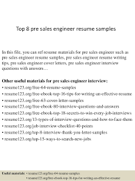 Salesman Resume Examples by Top 8 Pre Sales Engineer Resume Samples 1 638 Jpg Cb U003d1427960170