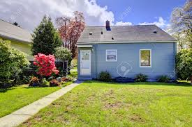 American Small House Blue Small House With Spring Landscape From Backyard With Green