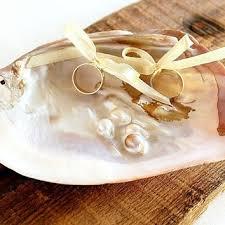 ring holder for wedding wedding ring bearer sea shell ring from littlewoodcottage