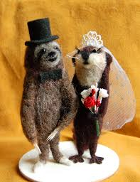 otter cake topper needle felted wedding cake toppers facci designs