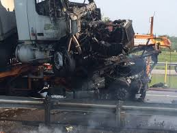 video fiery semi crash after truck launches from car carrier