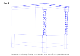 learn how to draw a four poster bed furniture step by step