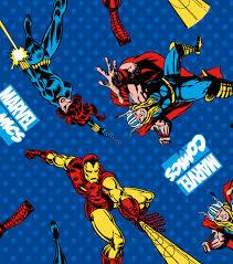 Bed Sheets For Summer Men U0027s Journal Marvel Comics Avengers Flannel Fabric 42 U0027 U0027 Retro Comics Power Up