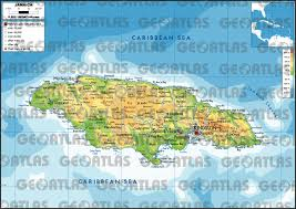 jamaica physical map geoatlas countries jamaica map city illustrator fully