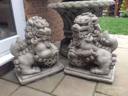 large pair garden foo dogs dragons stunning detail