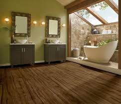flooring armstrong alterna with double vanity mirror and bath tub