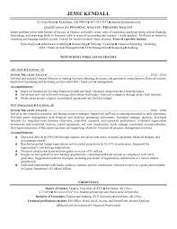 Senior Financial Analyst Sample Resume by Example Treasury Analyst Resume Free Sample