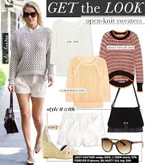 how to knit a sweater ali larter shows you how to wear the open knit sweater whowhatwear