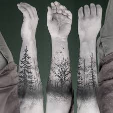 trees forest black ink winter birds tattoos