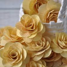 wood flowers wood roses birch wood shavings crafted flowers pale yellow
