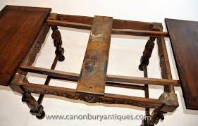 antique french provincial extending oak dining table carved legs