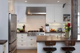 Polished Mosaic Backsplash With Wood Countertop Kitchen - Magnetic backsplash