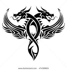 red tribal dragon tattoo vector illustration stock vector
