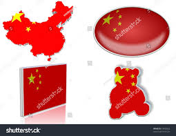 Chineses Flag Chinese Flag 4 Different Designs Shape Stock Illustration 73933522