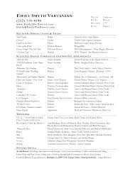 Music Resume Examples by Sample Musical Theatre Resumes Music Resume For College Acting