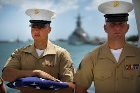 Usmc Flag Officers Usmc Pfc Gorbey And Cpl Riles Secure A Us Flag During The Uss
