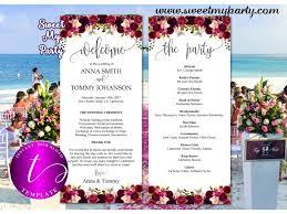 Tea Length Wedding Program Floral Burgundy Wedding Program Template Printable Tea Length