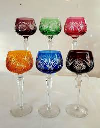 bohemian crystal 6 harlequin cut to clear heavy hock glasses with