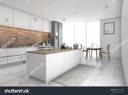 3d rendering contemporary kitchen bar dining stock illustration