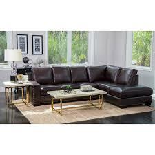 Abbyson Sectional Sofa Abbyson Monaco Brown Top Grain Leather Sectional Sofa Free