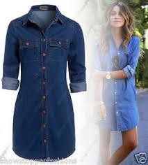 new womens longline denim shirt dress ladies jean dresses size 6 8