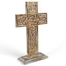 wooden celtic cross standing wooden celtic cross 10 inch 27cm white wood gold