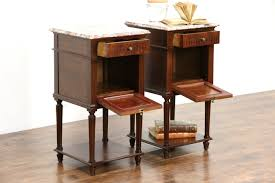 Antique Nightstands With Marble Top Sold Pair French Marble Top 1910 Antique Mahogany Nightstands