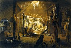 file interior of the hut of a mandan chief mixed media by karl