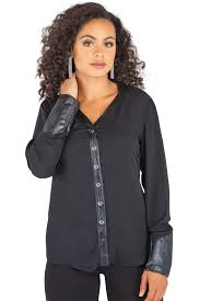 leather blouse poetic justice s black v neck button up blouse with vegan