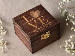 Wooden Wedding Rings by Wood Wedding Ring Bearer Box Fingerprint Box Rustic Wooden Ring