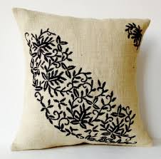 ivory burlap throw pillows embroidered pillow covers black