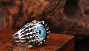 vintage titanium rings images Blue eyeball ring skull ring titanium stainless steel men ring punk jpg