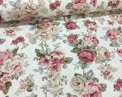 Shabby Chic Upholstery Fabric by Canvas Duck Fabric Vintage Rose Butterfly Stamp Letters Pink